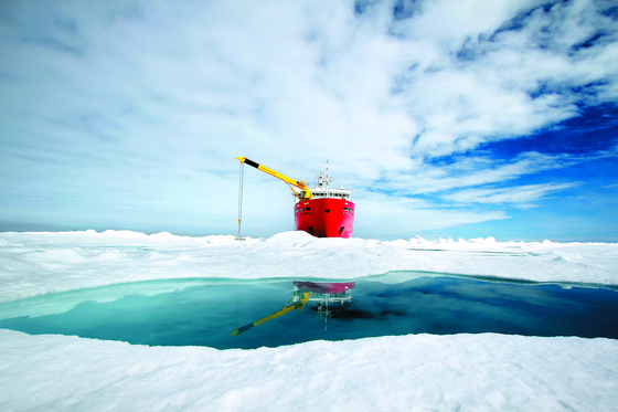 The Araon, Korea's icebreaking research vessel, which travels between the Arctic and Antarctic seas every year. [KOREA POLAR RESEARCH INSTITUTE]