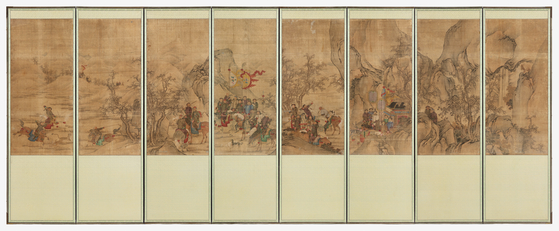 """The eight-panel folding screen """"Hunting Scene,"""" known as Horyeopdo, was purchased by the Overseas Korean Cultural Heritage Foundation at a Christie's auction last September. [CULTURAL HERITAGE ADMINISTRATION]"""