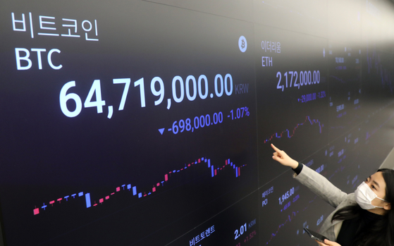 A display at Upbit, a cryptocurrency exchange in Gangnam District, southern Seoul, shows the price of bitcoin surpassing 64.7 million won ($58,322) Monday morning. [YONHAP]