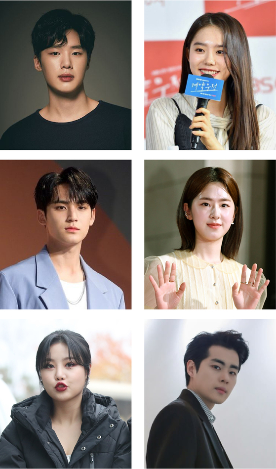 Celebrities embroiled in school violence allegations include actor Kim Dong-hee (top left), former I.O.I member Kim So-hye (top right), Seventeen's Minkyu (center left), actor Park Hye-soo (center right), Soojin of (G)I-DLE (bottom left) and actor Jo Byung-gyu (bottom right). [ILGAN SPORTS]