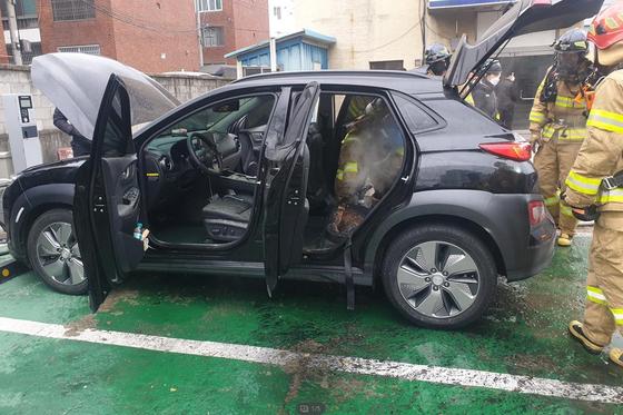 An updated Hyundai Motor's Kona Electric caught fire in Daegu on Jan. 23. [YONHAP]