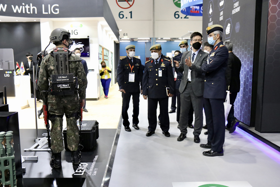 Wearable robot LEXO by domestic defense manufacturer LIG-Nex1 is on display at the International Defence Exhibition and Conference (IDEX) in Abu Dhabi. [LIG-NEX1]