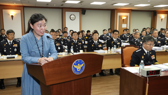 Lim Eun-jeong, a prosecutor in the Ulsan District Prosecutors' Office, testifies at a parliamentary audit hearing on the National Police Agency in 2019. Lim was appointed to the powerful Seoul Central District Prosecutors' Office on Monday. [YONHAP]