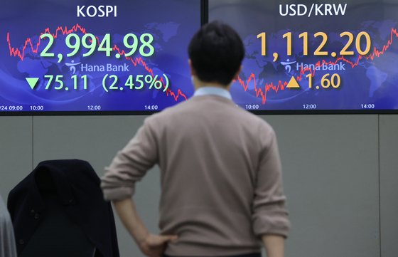 A screen at Hana Bank's trading room in central Seoul shows the Kospi closing at 2,994.98 points on Wednesday, down 75.11 points, or 2.45 percent from the previous trading day. [YONHAP]