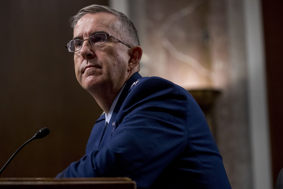 Air Force Gen. John Hyten appears before the Senate Armed Services Committee on Capitol Hill in Washington in 2019. [AP/YONHAP]