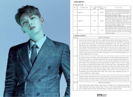 Kihyun of the boy band Monsta X, left, and the student record his agency Starship Entertainment disclosed on Friday. [STARSHIP ENTERTAINMENT]