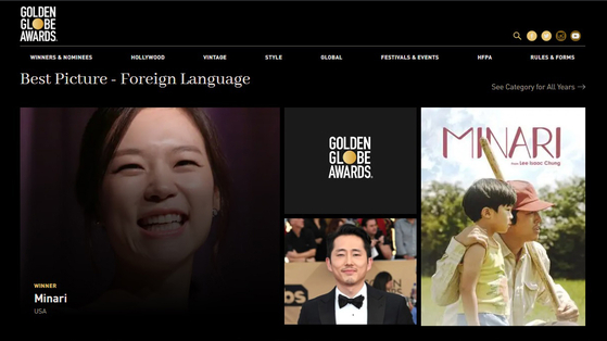 Director Lee Isaac Chung's ″Minari,″ a story about a Korean immigrant family which draws from the director's own childhood, won the Golden Globe for Best Foreign Language Film at the 78th ceremony on Monday. [GOLDEN GLOBES]