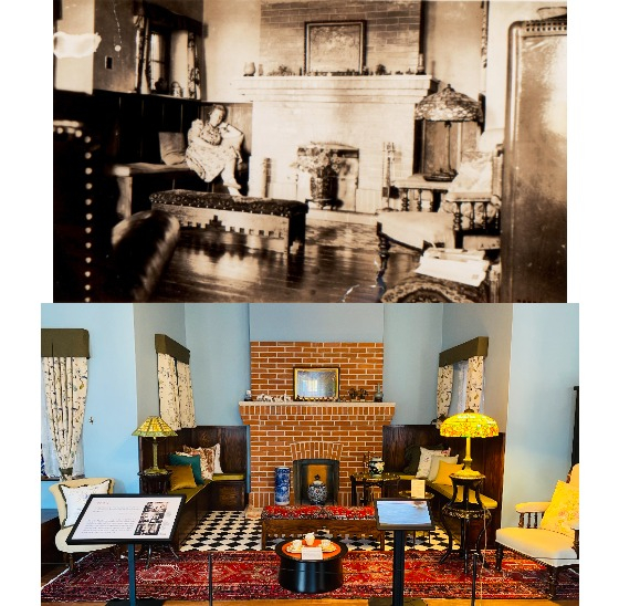 One of the living rooms in Dilkusha, in the 1920s and today. [SEOUL METROPOLITAN GOVERNMENT]