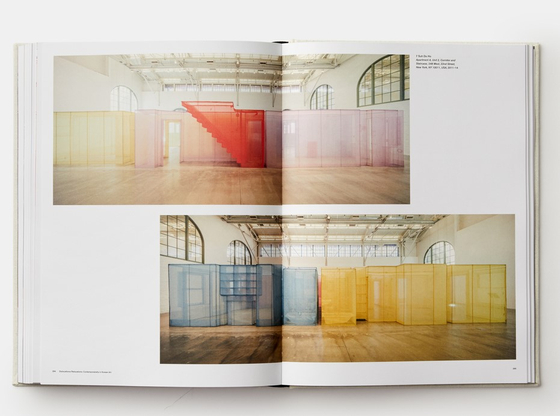"""Pages showing pictures of installation works by artist Do ho Suh from the book """"Korean Art from 1953: Collision, Innovation, Interaction."""" [PHAIDON]"""