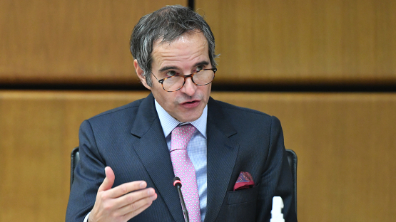 Rafael Mariano Grossi, director-general of the International Atomic Energy Agency, delivers an opening statement to the IAEA Board of Governors in Vienna Monday. [IAEA]