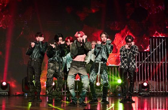 """Boy band Ateez performs during an online showcase for their new mini album, """"Zero: Fever Part. 2."""" [KQ ENTERTAINMENT]"""