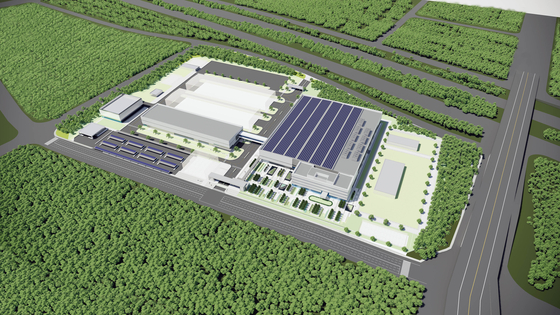 Computer-generated image of Hyundai Motor's hydrogen fuel cell production unit called HTWO Guangzhou located in Guangzhou, China. The unit which broke ground on Tuesday is expected to complete in 2022. [HYUNDAI MOTOR GROUP]