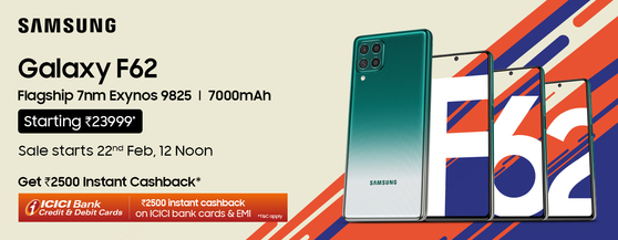 Samsung Electronics late last month launched a new smartphone model Galaxy F62, which is only available in India. [SAMSUNG ELECTRONICS]
