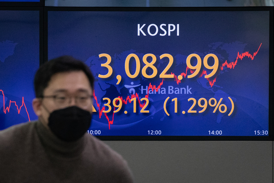 A screen at Hana Bank's trading room in central Seoul shows the Kospi closing at 3,082.99 points on Wednesday, up 39.12 points, or 1.29 percent, from the previous trading day. [NEWS1]