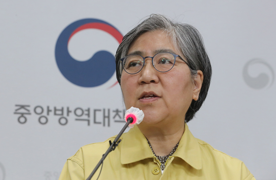Korea Disease Control and Prevention Agency (KDCA) Commissioner Jung Eun-kyeong speaks to the press about two deaths following vaccinations on Wednesday at the KDCA headquarters in Cheongju, North Chungcheong. [YONHAP]