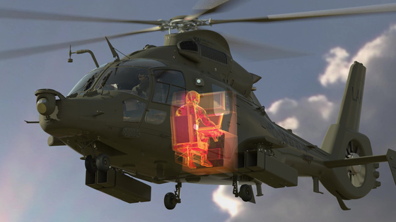 A graphic illustration of a manned-unmanned teaming system aboard a light armed helicopter. [KAI]