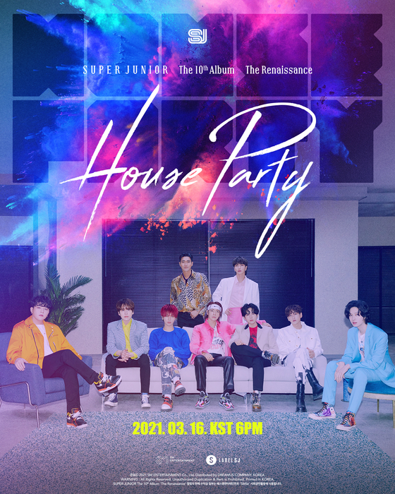 "The poster for ""House Party,"" the lead track of boy band Super Junior's upcoming album ""The Renaissance."" [LABEL SJ]"