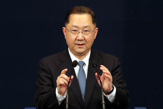 Kim Jin-kook, newly appointed senior presidential secretary for civil affairs, talks to the reporters at the Blue House press center on Thursday.  [NEWS1]