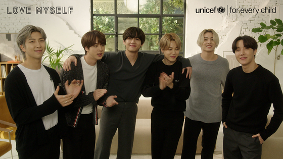 A captured image from a video released on Friday to celebrate the announcement that BTS and Unicef Korea will continue the joint ″Love Myself″ anti-violence campaign until 2022. [UNICEF KOREA]