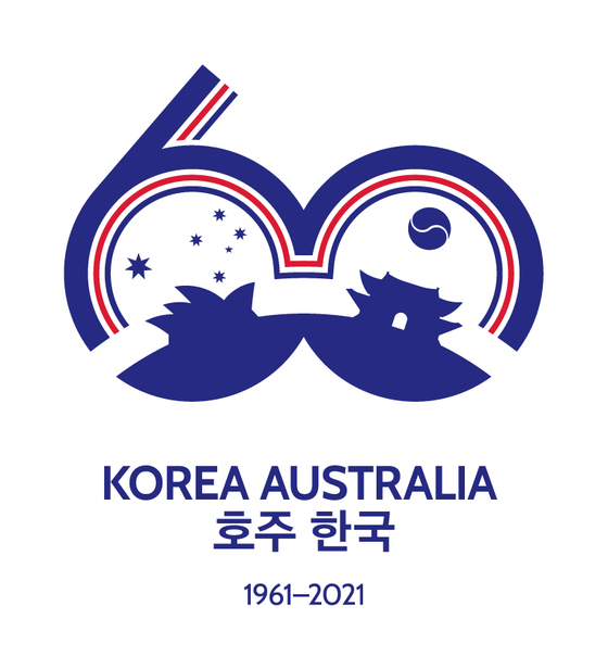 The logo to celebrate 60th anniversary of Australia-Korea diplomatic ties, created by Kim In. [EMBASSY OF AUSTRALIA IN KOREA]