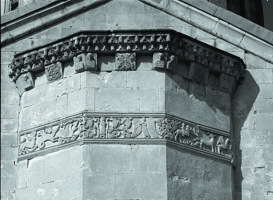 Bas-relief from the east façade of the Cathedral of the Virgin in Martvili, which dates back to the 7th century. Part of the Dimitri Ermakov photo-collection. [GEORGIAN NATIONAL MUSEUM]