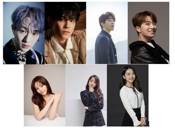 Clockwise from left, singers and actors Onew from Shinee, Wonpil from DAY6, Cho Hun, Youngjae from Got7, Lee Ah-jin, Kei from Lovelyz, and Kang Hye-in will all feature in lead roles for the upcoming musical ″Midnight Sun.″ [SHINSWAVE]