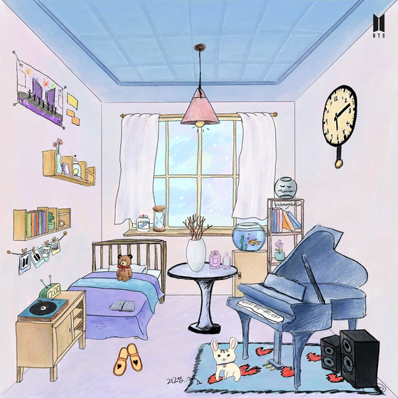 """""""ARMY's room,"""" a series of drawings by members of boy band BTS. ARMY refers to BTS's fans. Member RM's drawing, above, features a moon jar. [BIG HIT ENTERTAINMENT]"""