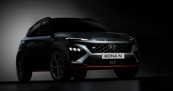 Hyundai Motor's Kona N, a high-performance version of the compact SUV, is seen in a teaser photo released Wednesday. The Kona N will be the first SUV under Hyundai Motor's high-performance N brand. [HYUNDAI MOTOR]
