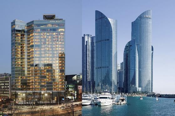 Left: Park Hyatt Seoul. Right: Park Hyatt Busan. [PARK HYATT SEOUL AND BUSAN]