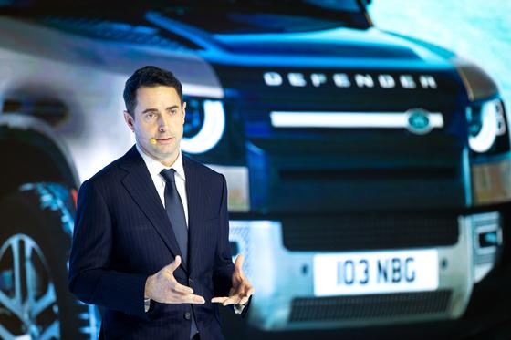 Robin Colgan, managing director of Jaguar Land Rover Korea, speaks during a press conference on Monday at the Grand Hyatt in central Seoul. [JAGUAR LAND ROVER KOREA]