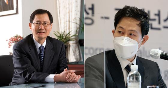 Park Chan-koo, Kumho Petrochemical CEO, left, and Park Chul-whan, the company's senior vice president. [NEWS1]