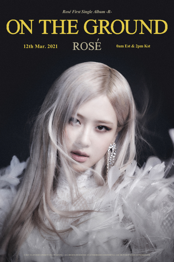 The poster image for Rosé of girl group Blackpink and her new solo music ″On The Ground″ [YG ENTERTAINMENT]