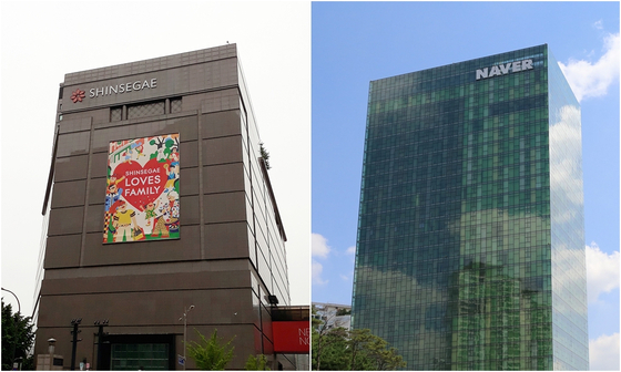Shinsegae Department Store's main branch in central Seoul, left, and Naver headquarters in Bundang in Gyeonggi.