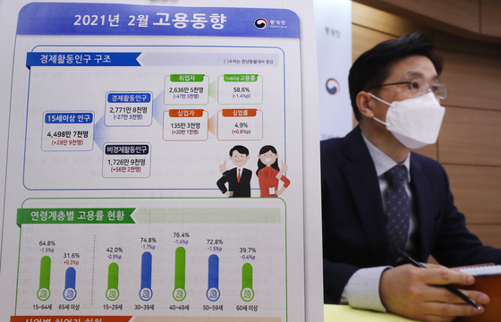 Statistics Korea announces Februrary job figures at the government complex in Sejong on March 17. [YONHAP]
