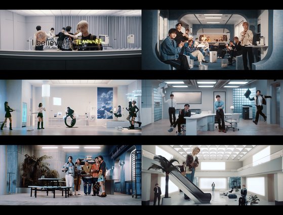 An collage of screen-captured images of a campaign video released Thursday by Big Hit Entertainment. [BIG HIT ENTERTAINMENT]