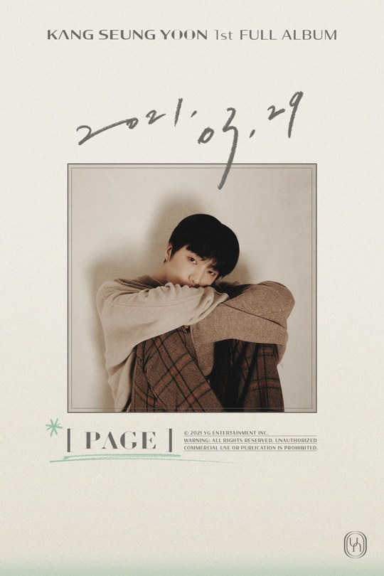 The poster announcing the release date of singer Kang Seung-yoon's first full-length album. [YG ENTERTAINMENT]