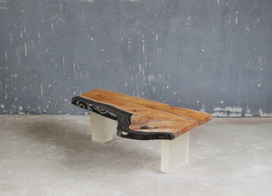 "Fabrikr's ""Gieol_Flow"" (2016), a table made of wood, old jeans and epoxy. [FABRIKR]"
