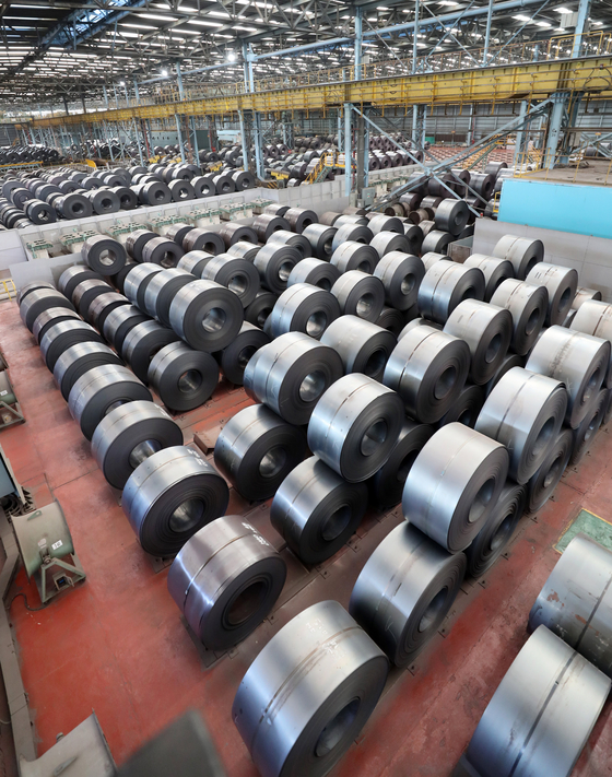 Steel coils waiting for export to the United States. The U.S. restrictions on steel imports from Korea are still effective under Joe Biden's administration after the Congress authorized former President Donald Trump to invoke Section 232 of the Trade Expansion Act to take tariff and other means to adjust imports for security reasons. [YONHAP]