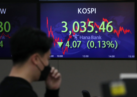 A screen in Hana Bank's trading room in central Seoul shows the Kospi closing at 3,035.46 points on Monday, down 4.07 points, or 0.13 percent from the previous trading day. [NEWS1]
