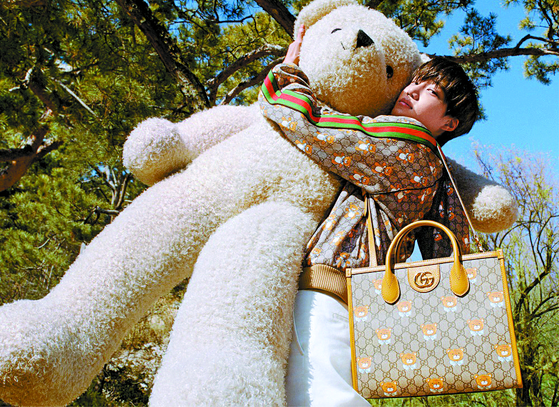Italian luxury fashion brand Gucci recently released a collection in collaboration with Kai of boy band Exo. The collection includes some 70 teddy bear-printed women and men clothing and accessories. . [GUCCI]