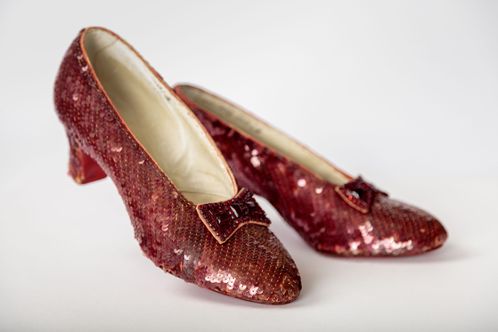 "A screen-used pair of the ruby slippers from ""The Wizard of Oz"" (1939). [ACADEMY MUSEUM FOUNDATION]"