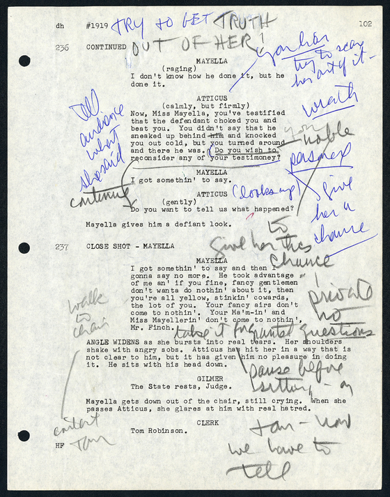 "A page from the script for ""To Kill a Mockingbird"" (1962) annotated by Gregory Peck from the Gregory Peck Papers. [ACADEMY MUSEUM FOUNDATION]"