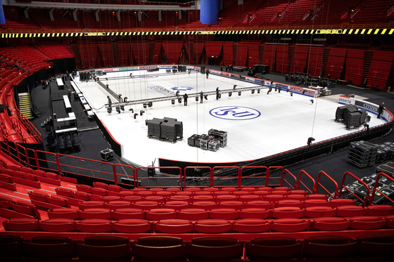 The rink is prepared for the 2021 ISU World Figure Skating Championships at the Stockholm Globe Arena in Stockholm, Sweden, on Friday [AP/YONHAP]