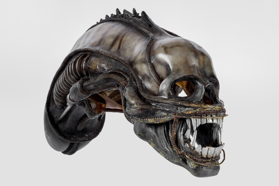 "The creature head designed and created by H.R. Giger for ""Alien"" (1979). [ACADEMY MUSEUM FOUNDATION]"