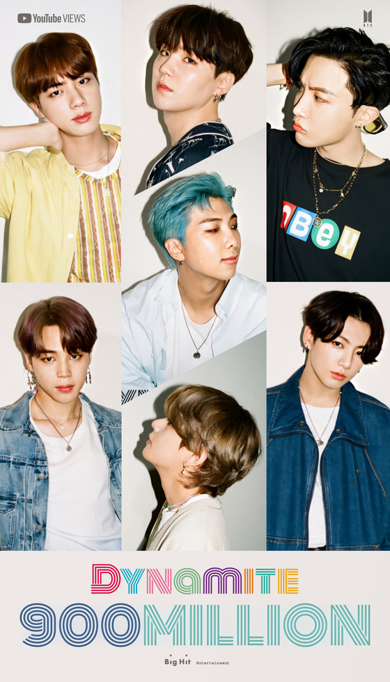 A photo of BTS released by Big Hit Entertainment when the music video of the boy band's popular song ″Dynamite″ surpassed 900 million views online. The boy band helped Korea's culture and arts-related copyrights trade surplus, according to the Bank of Korea Tuesday. [BIG HIT ENTERTAINMENT]