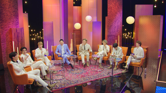 A captured scene of the upcoming talk show ″Let's BTS″ features members of boy band BTS and M.C. Shin Dong-yeob sitting down for a 100-minute talk. The show will air on KBS 2TV on March 29 at 10:40 p.m. [KBS]