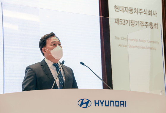 Hyundai Motor President Ha Eon-tae shares the automaker's plans for 2021 at a shareholder's meeting on Wednesday. [HYUNDAI MOTOR]