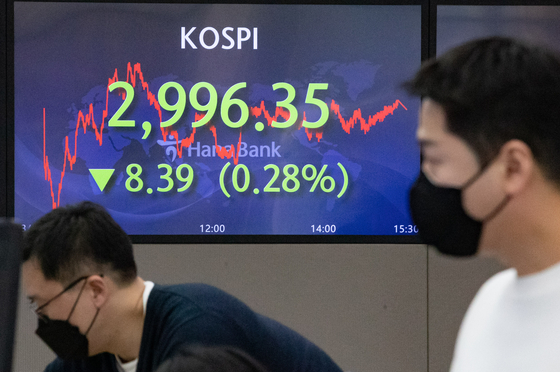 A screen in Hana Bank's trading room in central Seoul shows the Kospi closing at 2,996.35 points on Wednesday, down 8.39 points, or 0.28 percent from the previous trading day. [NEWS1]