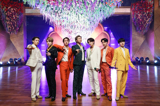 """BTS became the first-ever K-pop act to perform solo at the Grammys Award on March 15, Korean time. The band recorded a video of their performance for the 2020 hit """"Dynamite"""" from Seoul which was played during the awards ceremony. BTS was nominated for the Best Pop Duo/Group Performance award for """"Dynamite,"""" but did not win. [BIG HIT ENTERTAINMENT]"""