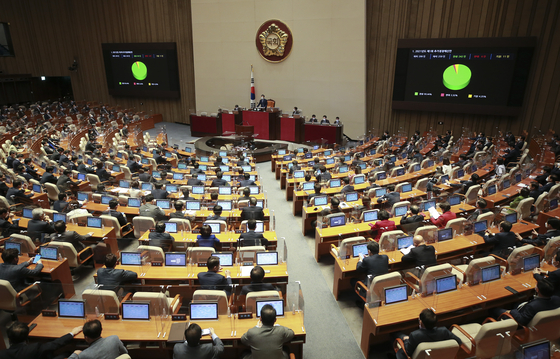 Law makers passing this year's first supplementary budget at the National Assembly on March 25. [YONHAP]